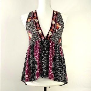 Free People Mixed Print Open Back Sleeveless Top